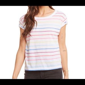 Chaser Striped Rolled Sleeve Baby Tee NWT